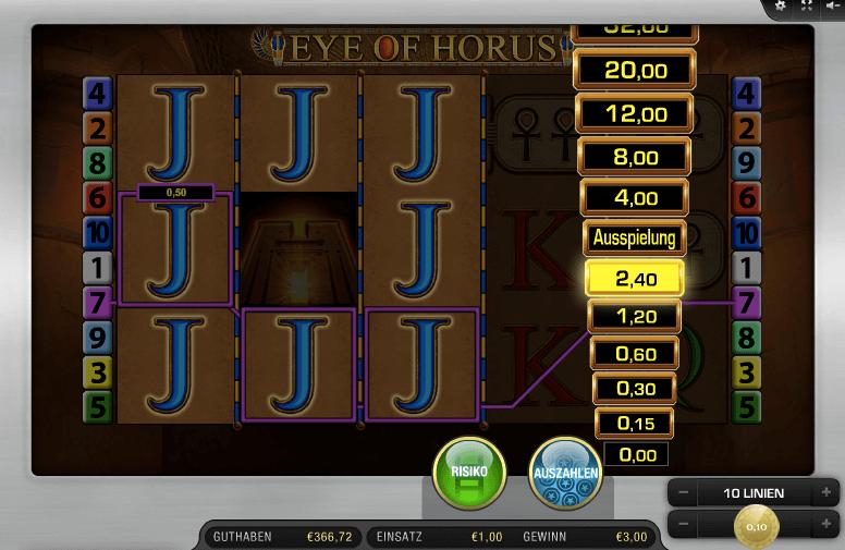 Risikoleiter bei Eye of Horus
