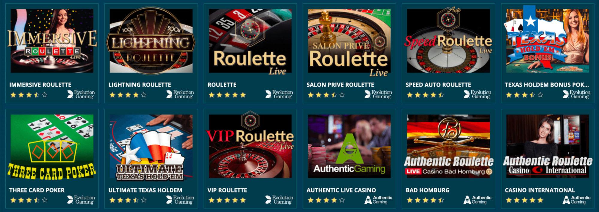 Casinospiele im Platincasino