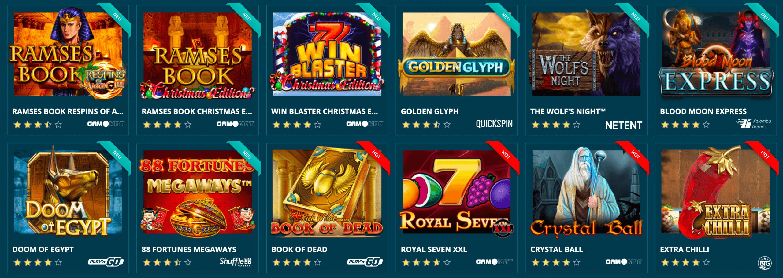 Slotmachines im Platin Casino